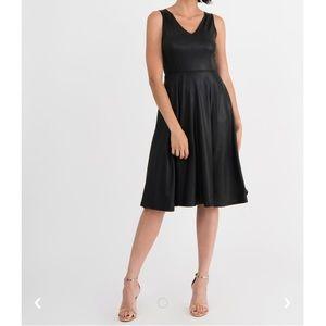 Agnes & Dora Fit & Flare Dress in Shiny Black